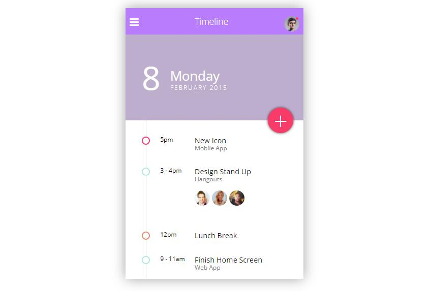 Mobile Timeline UI with css