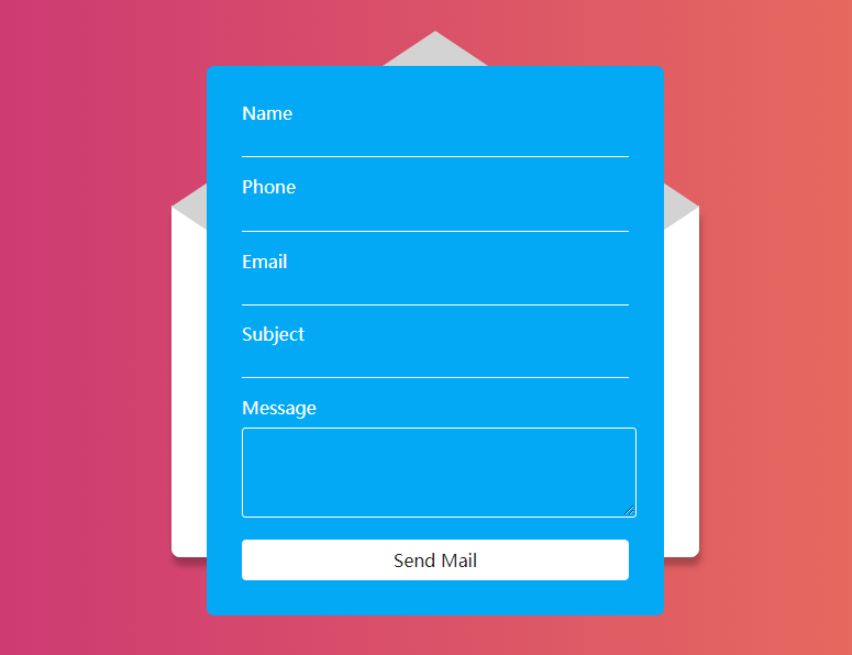 Contact us form with envelope animation