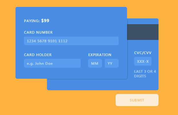 Credit card payment form with HTML, CSS and JavaScript