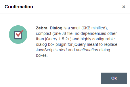 A small and highly configurable jQuery plugin for creating modal dialog boxes
