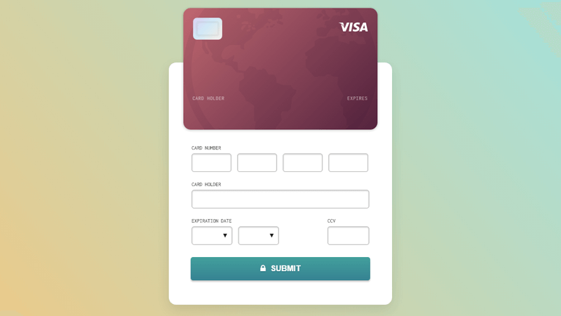 Credit card checkout with CSS and JavaScript