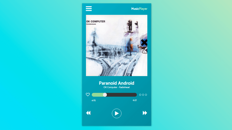 Music player ui with CSS and JavaScript