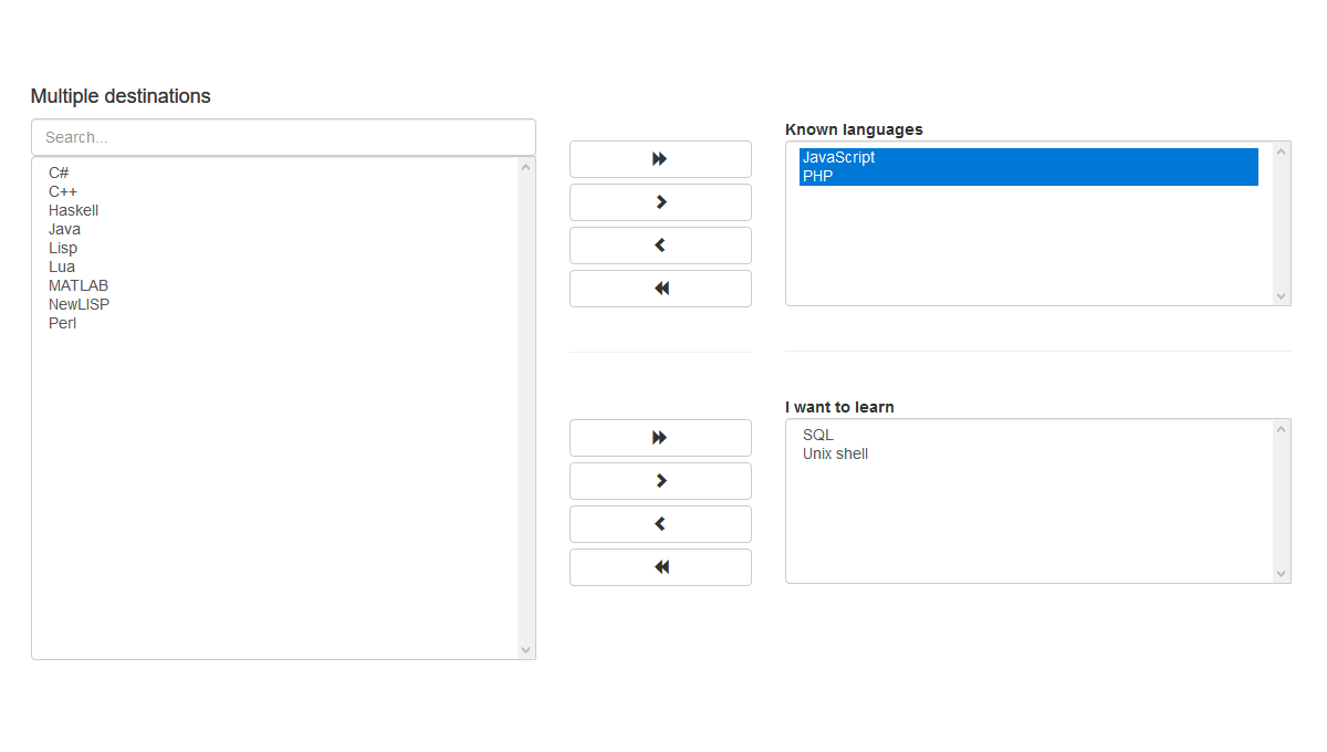 Multiselect - jQuery multiselect plugin with two sides