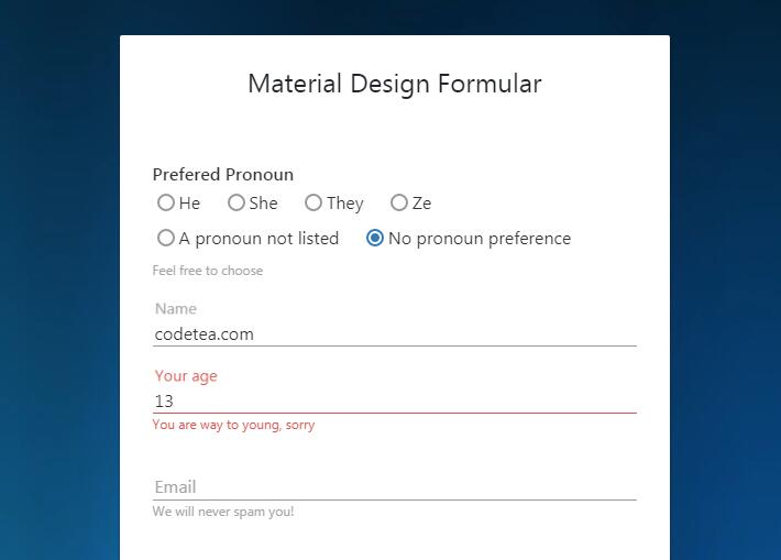 Form fields with material design and video background in pure CSS