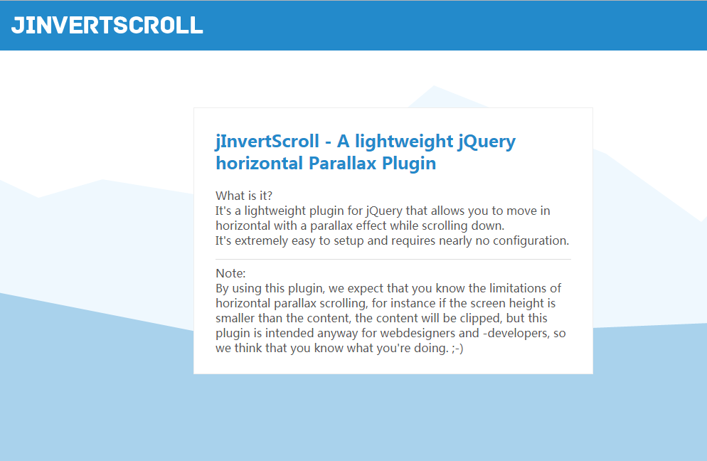 A lightweight jQuery vertical scroll - horizontal move plugin with parallax effect