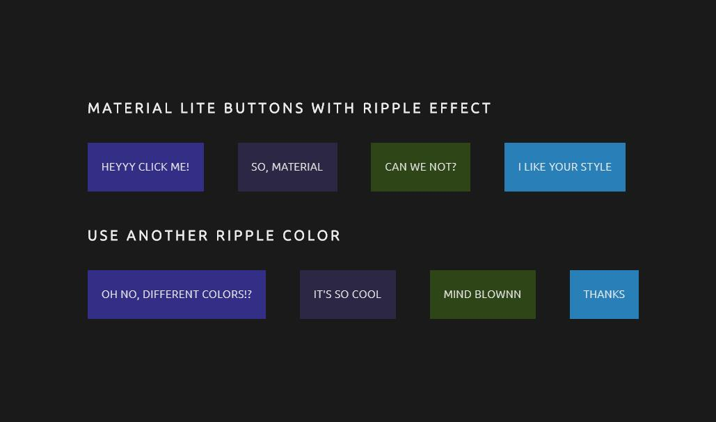 MATERIAL lite buttons with RIPPLE effect