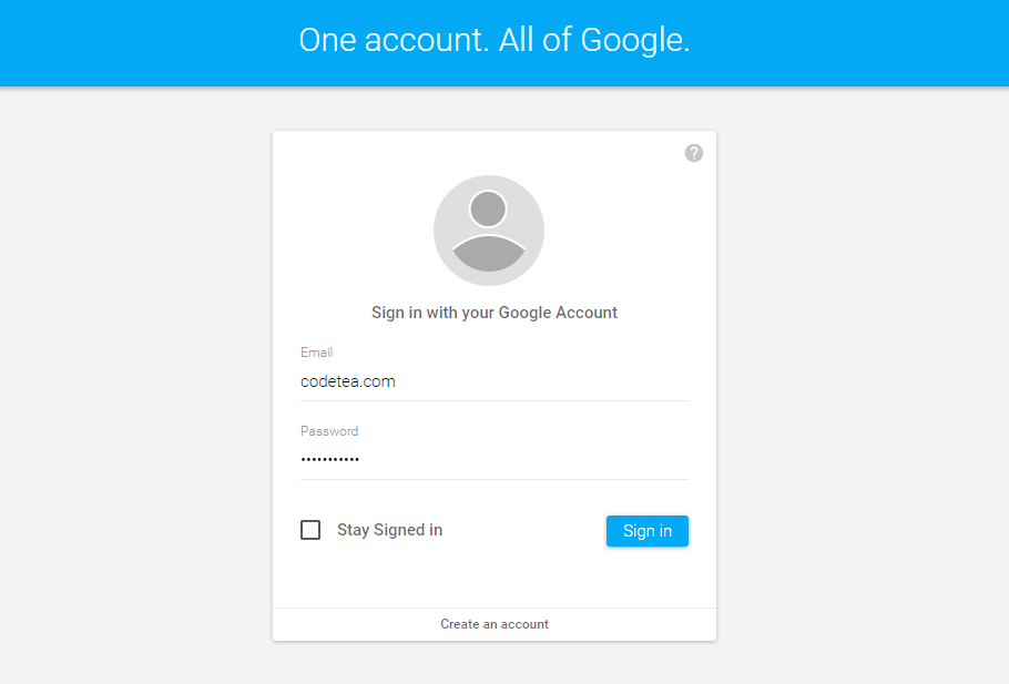 Material Design Sign in form