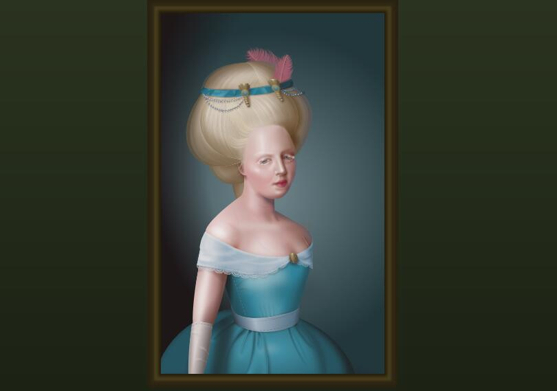 HTML/CSS drawing in the style of an 18th-century oil painting