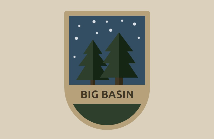 Animated CSS Big Basin Badge