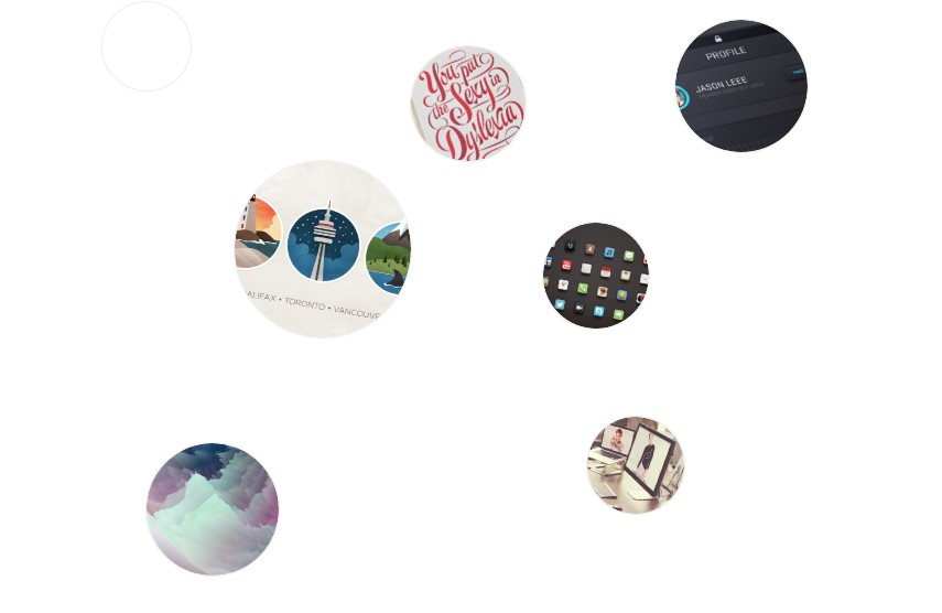 Presents portfolio as randomly placed rounded thumbnails