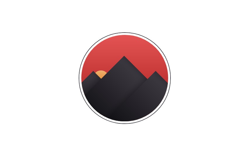 Sunset behind mountains - pure CSS badge