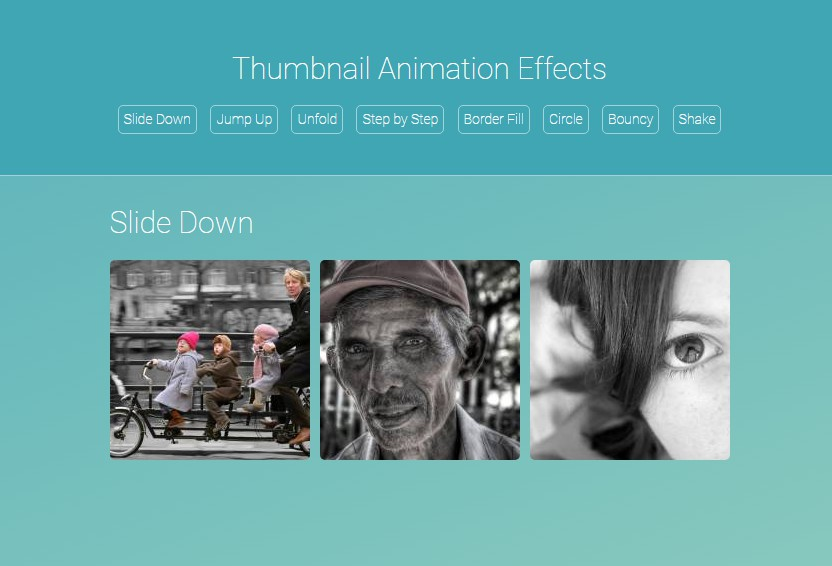 Various grid style galleries that use CSS animations