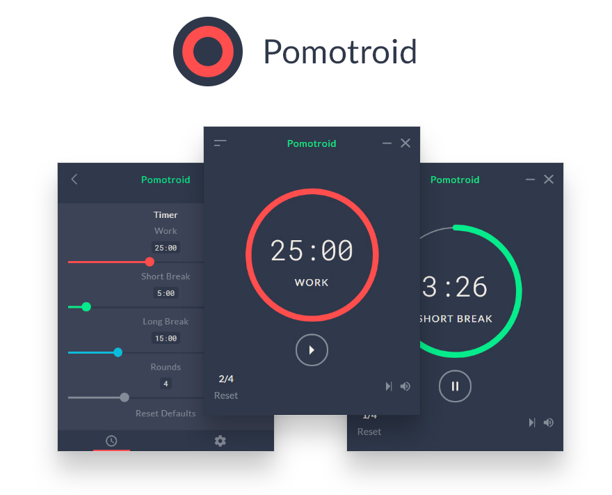 Simple and Visually-Pleasing Pomodoro Timer